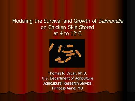Modeling the Survival and Growth of Salmonella on Chicken Skin Stored at 4 to 12  C Thomas P. Oscar, Ph.D. U.S. Department of Agriculture Agricultural.