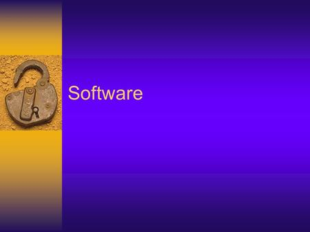 Software. Generic Software  e.g. word processing, spreadsheet and database. – This simply implies that any of the dozens of spreadsheet packages, for.