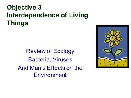 Objective 3 Interdependence of Living Things Review of Ecology Bacteria, Viruses And Man's Effects on the Environment.
