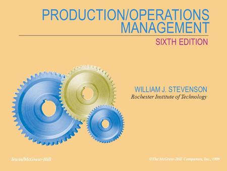 PRODUCTION/OPERATIONS MANAGEMENT