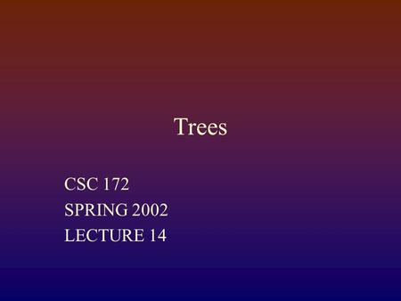 Trees CSC 172 SPRING 2002 LECTURE 14. Lists We have seen lists: public class Node { Object data; Node next; } 