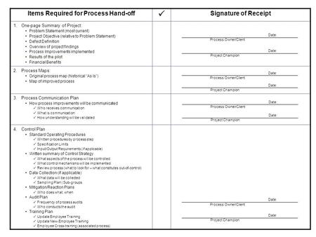 Items Required for Process Hand-off