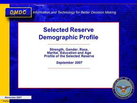 * Includes Marine Corps Selected Reserve Demographic Profile Strength, Gender, Race, Marital, Education and Age Profile of the Selected Reserve September.