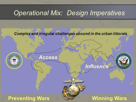 Operational Mix: Design Imperatives Access Influence Complex and irregular challenges abound in the urban littorals Preventing WarsWinning Wars.