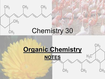 Chemistry 30 Organic Chemistry NOTES. I. Organic Chemistry Definition Organic compounds are those obtained from living organisms. Inorganic compounds.