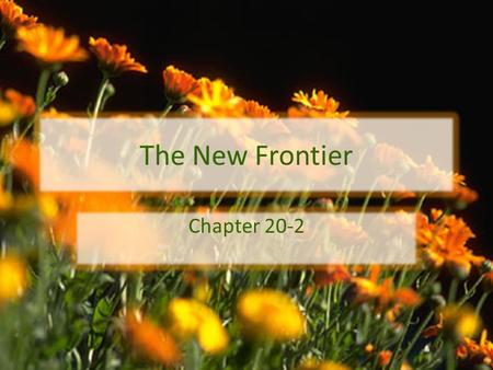 The New Frontier Chapter 20-2. The Promise of Progress President Kennedy set out to transform his broad vision of progress into what he called the New.