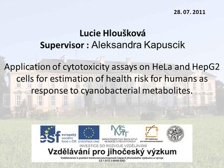 Lucie Hloušková Supervisor : Aleksandra Kapuscik 28. 07. 2011 Application of cytotoxicity assays on HeLa and HepG2 cells for estimation of health risk.