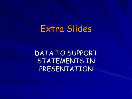 Extra Slides DATA TO SUPPORT STATEMENTS IN PRESENTATION.