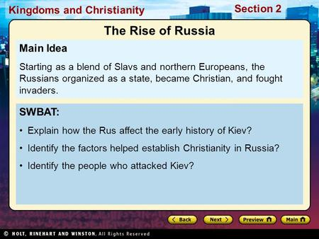 The Rise of Russia Main Idea SWBAT: