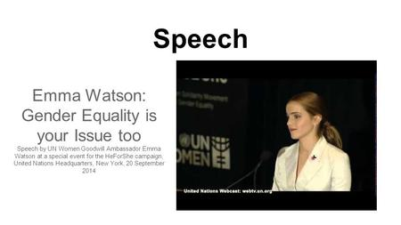 Emma Watson: Gender Equality is your Issue too