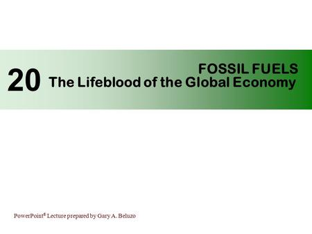 PowerPoint ® Lecture prepared by Gary A. Beluzo FOSSIL FUELS The Lifeblood of the Global Economy 20.