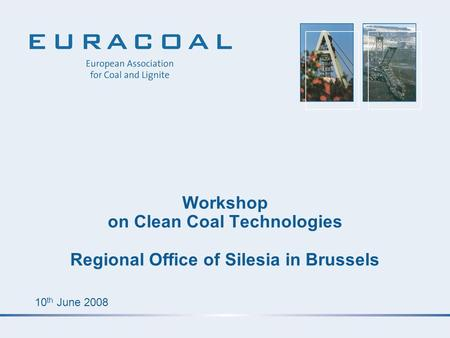 10 th June 2008 Workshop on Clean Coal Technologies Regional Office of Silesia in Brussels.