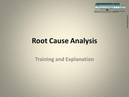 Www.stangerweb.de Root Cause Analysis Training and Explanation 1.