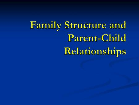 Intact Families For many years, family structure was very consistent in Canada – the 'intact' family (meaning mom, dad and children) was the norm For.