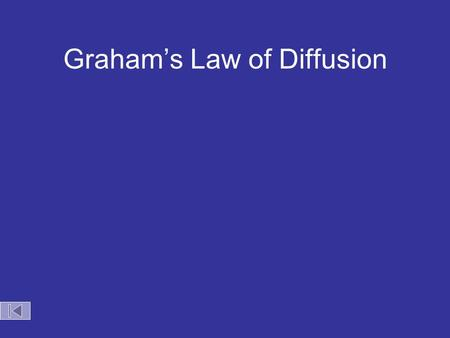 Graham's Law of Diffusion Graham's Law KE = ½mv 2 Speed of diffusion/effusion –Kinetic energy is determined by the temperature of the gas. –At the same.