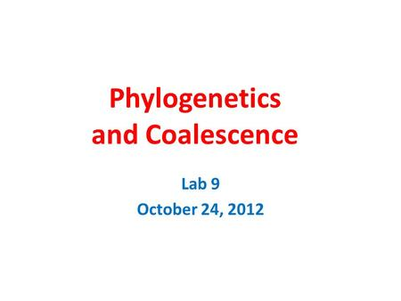 Phylogenetics and Coalescence Lab 9 October 24, 2012.