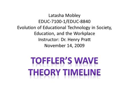 Latasha Mobley EDUC-7100-1/EDUC-8840 Evolution of Educational Technology in Society, Education, and the Workplace Instructor: Dr. Henry Pratt November.