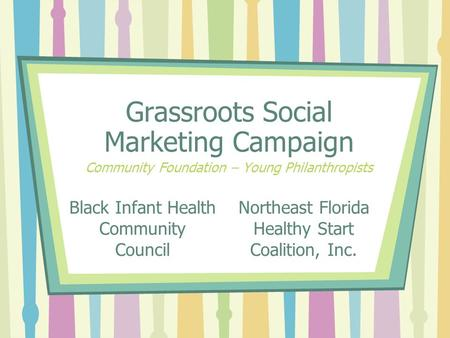 Black Infant Health Community Council Grassroots Social Marketing Campaign Community Foundation – Young Philanthropists Northeast Florida Healthy Start.