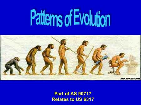Part of AS 90717 Relates to US 6317. What is EVOLUTION ? Evolution is change over time - Change means heritable change in a population Time means over.