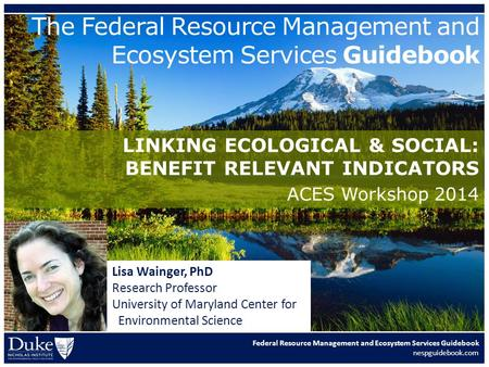 Federal Resource Management and Ecosystem Services Guidebook nespguidebook.com The Federal Resource Management and Ecosystem Services Guidebook LINKING.