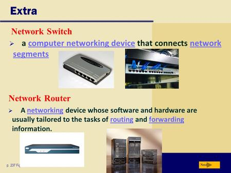 Extra Network Router p. 237 Fig. 5-3 Next  a computer networking device that connects network segmentscomputer networking devicenetwork segments Network.