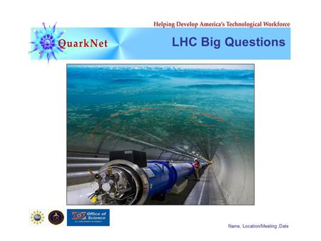 Name, Location/Meeting,Date LHC Big Questions. Name, Location/Meeting,Date String Theory! p+p+ p+p+
