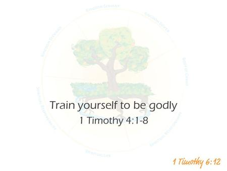 Train yourself to be godly 1 Timothy 4:1-8. Who is a person you know who has abandoned their faith in Christ What were the factors?
