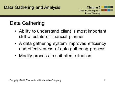 Chapter Title Chapter # Tools & Techniques of Estate Planning Data Gathering and Analysis Chapter 2 Tools & Techniques of Estate Planning Copyright 2011,