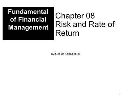 Chapter 08 Risk and Rate of Return