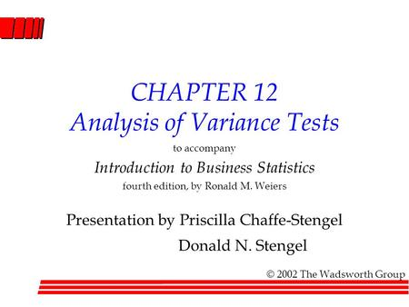 CHAPTER 12 Analysis of Variance Tests