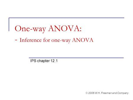 One-way ANOVA: - Inference for one-way ANOVA IPS chapter 12.1 © 2006 W.H. Freeman and Company.