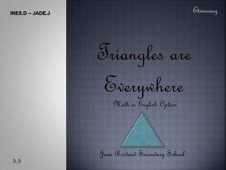 Triangles are Everywhere Jean Rostand Secondary School Etwinning 5.5 Math in English Option.