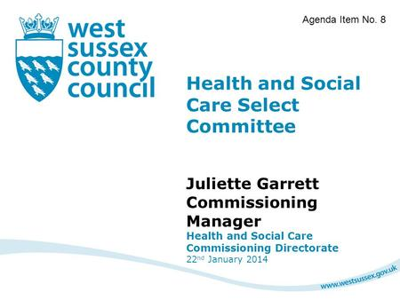Health and Social Care Select Committee Juliette Garrett Commissioning Manager Health and Social Care Commissioning Directorate 22 nd January 2014 Agenda.