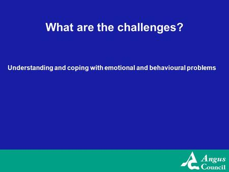 What are the challenges? Understanding and coping with emotional and behavioural problems.