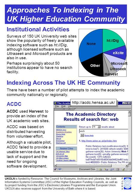 Approaches To Indexing in The UK Higher Education Community Institutional Activities Surveys of 150 UK University web sites show the popularity of freely.