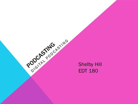 PODCASTING DIGITAL PODCASTING Shelby Hill EDT 180.