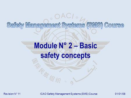 Revision N° 11ICAO Safety Management Systems (SMS) Course01/01/08 Module N° 2 – Basic safety concepts.