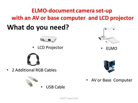 ELMO-document camera set-up with an AV or base computer and LCD projector What do you need? AV or Base Computer ELMO LCD Projector USB Cable 2 Additional.