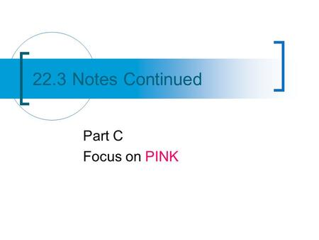 22.3 Notes Continued Part C Focus on PINK. Objectives Write names for ionic compounds.