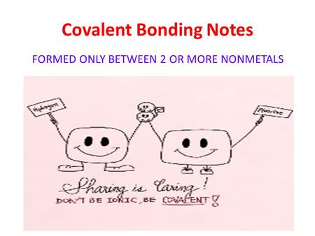 <strong>Covalent</strong> <strong>Bonding</strong> Notes FORMED ONLY BETWEEN 2 OR MORE NONMETALS.