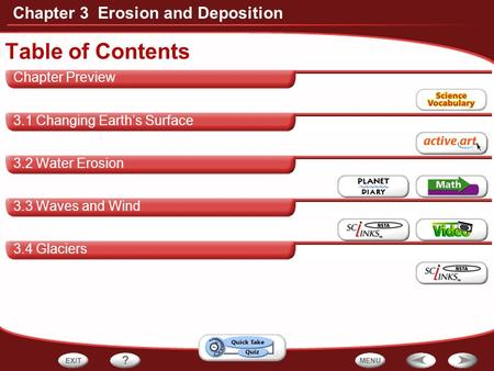 Chapter 3 Erosion and Deposition Chapter Preview 3.1 Changing Earth's Surface 3.2 Water Erosion 3.3 Waves and Wind 3.4 Glaciers Table of Contents.