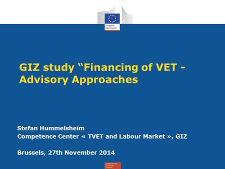 "GIZ study ""Financing of VET - Advisory Approaches"
