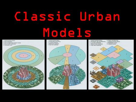 Classic Urban Models. Three models of urban structure: –Concentric Zone model –Sector Model –Multiple Nuclei Model Use of the models outside North America: