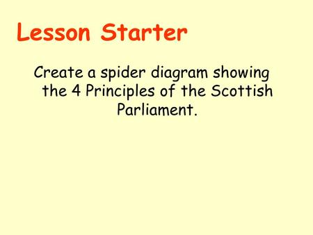 Lesson Starter Create a spider diagram showing the 4 Principles of the Scottish Parliament.