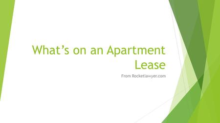 What's on an Apartment Lease From Rocketlawyer.com.