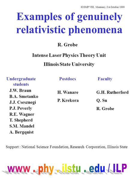Examples of genuinely relativistic phenomena R. Grobe ICOMP VIII, Monterey, CA October 1999 Intense Laser Physics Theory Unit Illinois State University.