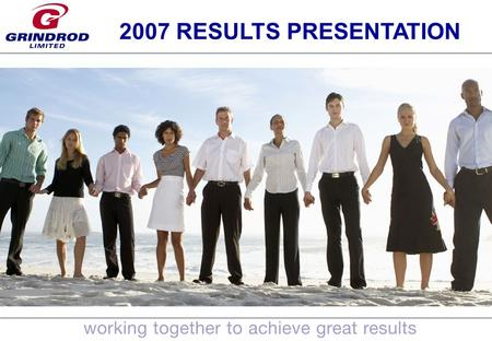 1 2007 RESULTS PRESENTATION. 2 AGENDA 2007 Results Overview of 2007 activities Shipping Trading Freight Services Financial Services Conclusion.