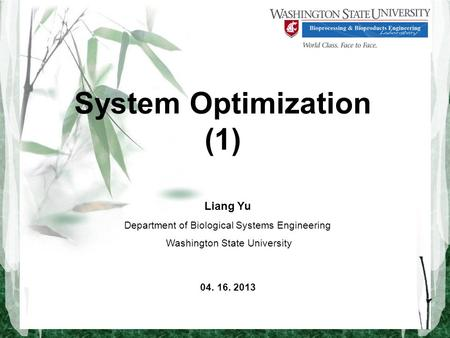 System Optimization (1) Liang Yu Department of Biological Systems Engineering Washington State University 04. 16. 2013.