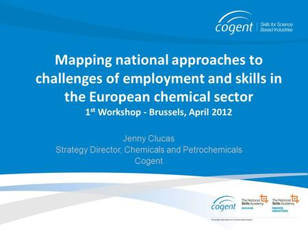 Mapping national approaches to challenges of employment and skills in the European chemical sector 1 st Workshop - Brussels, April 2012 Jenny Clucas Strategy.