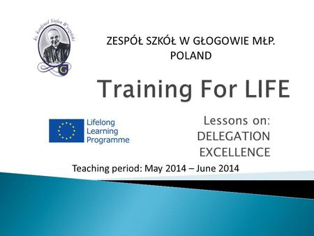Lessons on: DELEGATION EXCELLENCE Teaching period: May 2014 – June 2014 ZESPÓŁ SZKÓŁ W GŁOGOWIE MŁP. POLAND.
